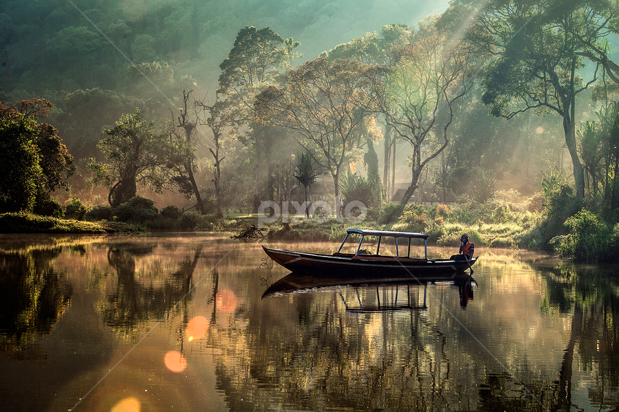 Serenade by Anto Ariyanto - Landscapes Waterscapes ( water, person, tress, boat, man )