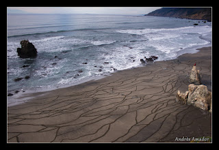 Photo: 'Watermarks II', Fort Bragg, CA. This design was created by following with a rake the lines left behind by the waves during the lowering of the tide. Reminiscent of terraced fields, shale, the microscopic texture of hair and skin. Thats Ember sitting on top of the spire.
