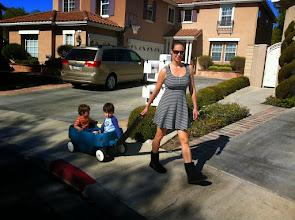 Photo: Eva and Boys Wagon Ride