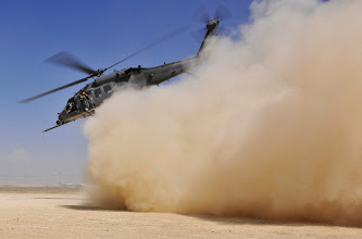 Photo: An HH-60G Pave Hawk helicopter carrying simulated wounded takes off from a landing zone during an exercise at Bagram Airfield, Afghanistan, Aug. 21. 2010. The exercise tested the rescue squadron's ability to provide medical aid to U.S. and Coalition forces.  (U.S. Air Force photo/Staff Sgt. Christopher Boitz)