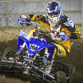 Leaning In by Kenton Knutson - Sports & Fitness Motorsports ( roost, mud, quad, racing, moto, dirt )