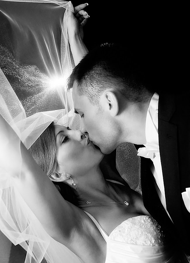 Bliss of kiss by Michael Michael - Wedding Bride & Groom ( wedding photography, black and white, wedding, wedding photographer, bride and groom, bride, groom,  )