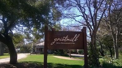 Photo: Gristmill Restaurant sign Gruene