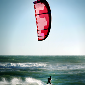 Kitesurfing With Kiteboard by Robin Amaral - Sports & Fitness Watersports ( waves, kitesurfing, power kite, extreme sports, kiteboard, speed, lifestyle, ocean, fitness, wave rider, kiteboarding, kite, extreme )