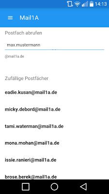 Mail 1A - Wegwerf Mail - screenshot