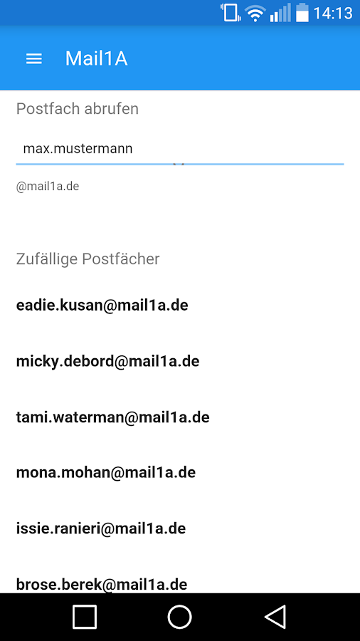 Mail 1A - Wegwerf Mail- screenshot