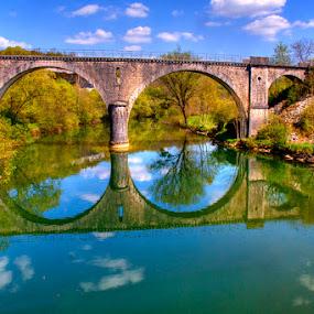 Beside The Castle by Harvey Horowitz - Buildings & Architecture Bridges & Suspended Structures ( bridges )