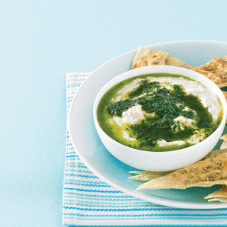 White Bean Dip with Basil Oil and Spiced Pita Bread.