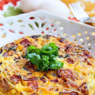 Country Frittata with Ham, Cheddar and Basil.