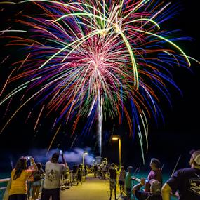Fireworks on the Pier by Sarah Noonan - City,  Street & Park  Night ( fishing pier, pier, fireworks, fort walton beach, destin, okaloosa island )