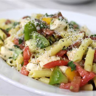Penne with Fresh Mozzarella, Heirloom Tomatoes and Basil