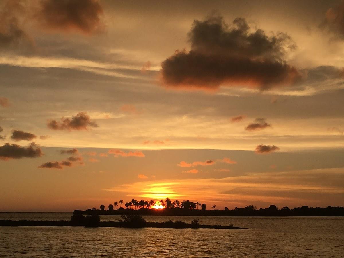 Sri. Lanka Kalpitiya Valampuri Resort. Sunset from the lagoon pergola