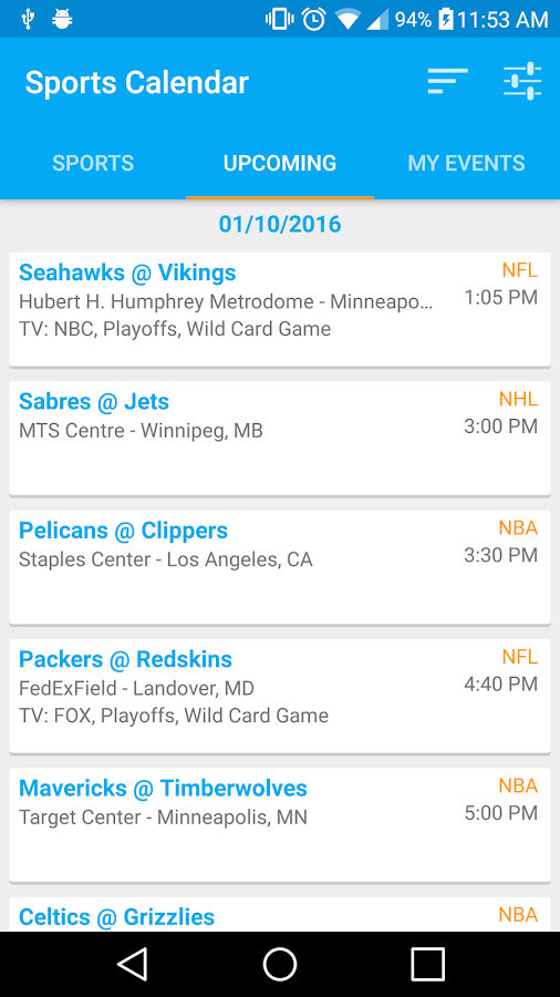 Sports Calendar- screenshot