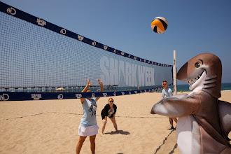 Photo: Dusky playing volleyball on Hermosa Beach. Credit: Chris Panagakis