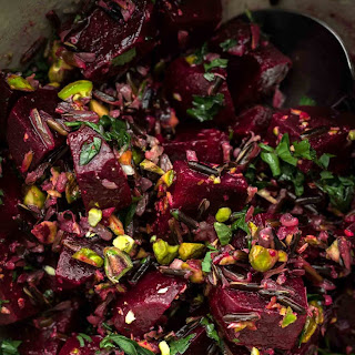 Beet Wild Rice Salad with Pistachios.