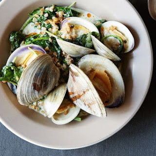 Clams with Cream, Farro, and Baby Kale.