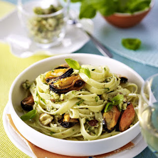 Pasta with Mussels and Hazelnut Pesto.
