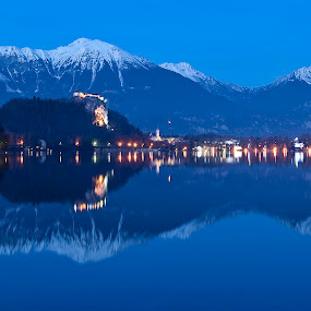Bled by Ales Jenko - City,  Street & Park  Vistas ( wather, night, lake )