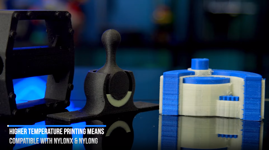 Higher temperature printing means compatible with NylonX and NylonG.