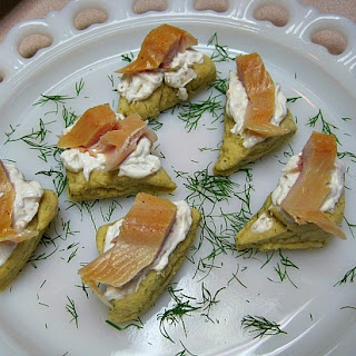 Dill Scones with Horseradish Cream and Smoked Trout.