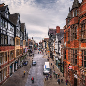Eastgate Str by Krasimir Lazarov - City,  Street & Park  Street Scenes ( urban, wales, street, chester county, architecture, town, street scene, city )