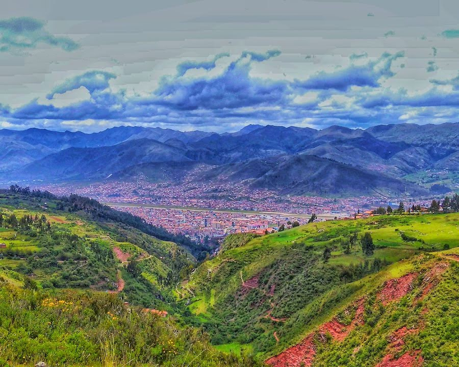 photo of the andes and cusco as seen from the countryside while approaching Cusco