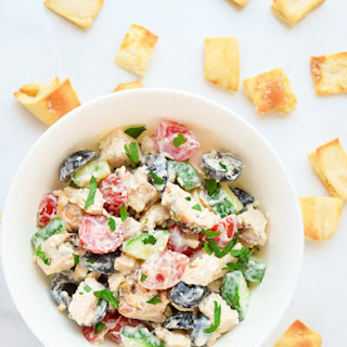 Greek Chicken Salad with Pita Croutons
