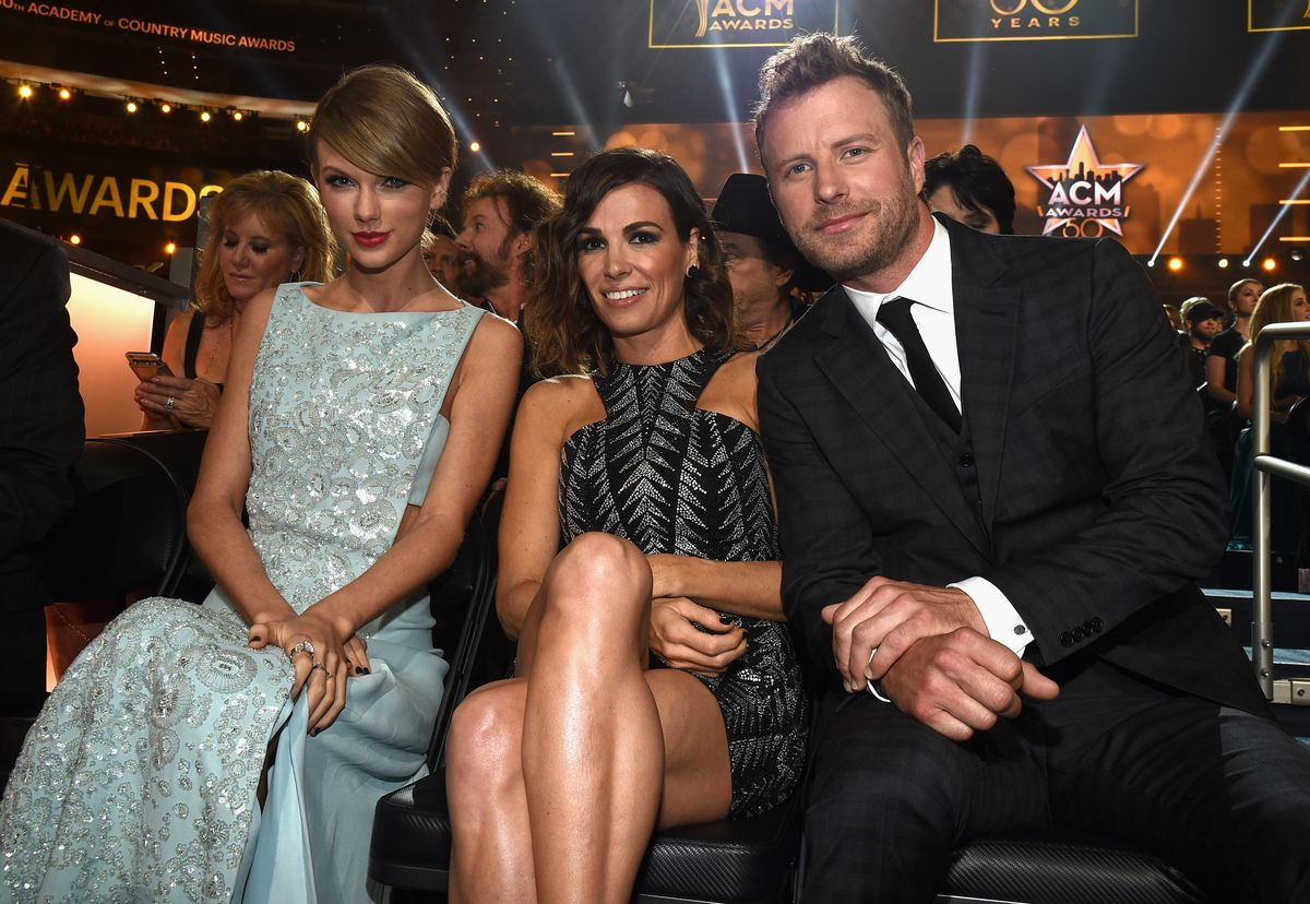 ARLINGTON, TX - APRIL 19: (L-R) Taylor Swift, Cassidy Black and Dierks Bentley during the 50th Academy Of Country Music Awards at AT&T Stadium on April 19, 2015 in Arlington, Texas. (Photo by Michael Buckner/ACM2015/Getty Images for dcp)