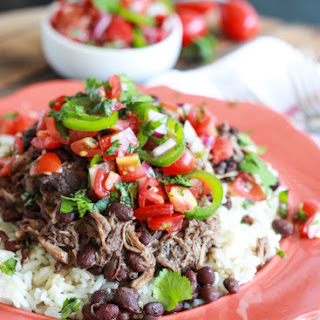 Crockpot Cuban Pork with Beans and Fresh Tomato Salsa