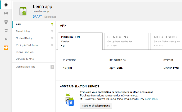 App Translation service in Google Play Developer Console ... on