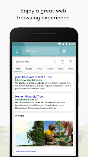 Screenshot 1 for Ecosia's Android app'