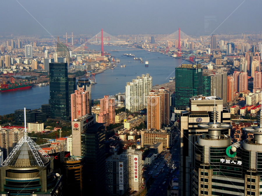 Downtown Shanghai by Obed Hariyono - City,  Street & Park  Skylines
