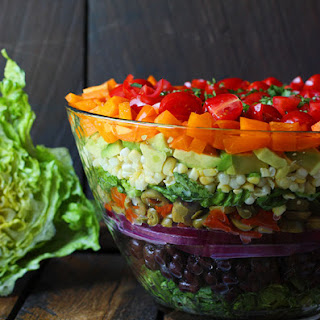 Seven Layer Salad with Creamy Salsa Vinaigrette