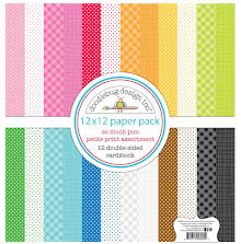 Doodlebug Petite Prints Double-Sided Cardstock 12X12 12/Pk - So Much Pun