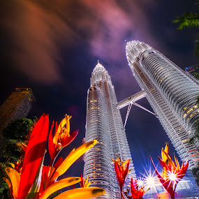 Twin Tower by Tien Sang Kok - City,  Street & Park  Night ( building, night, architecture, cityscape, nightscape )