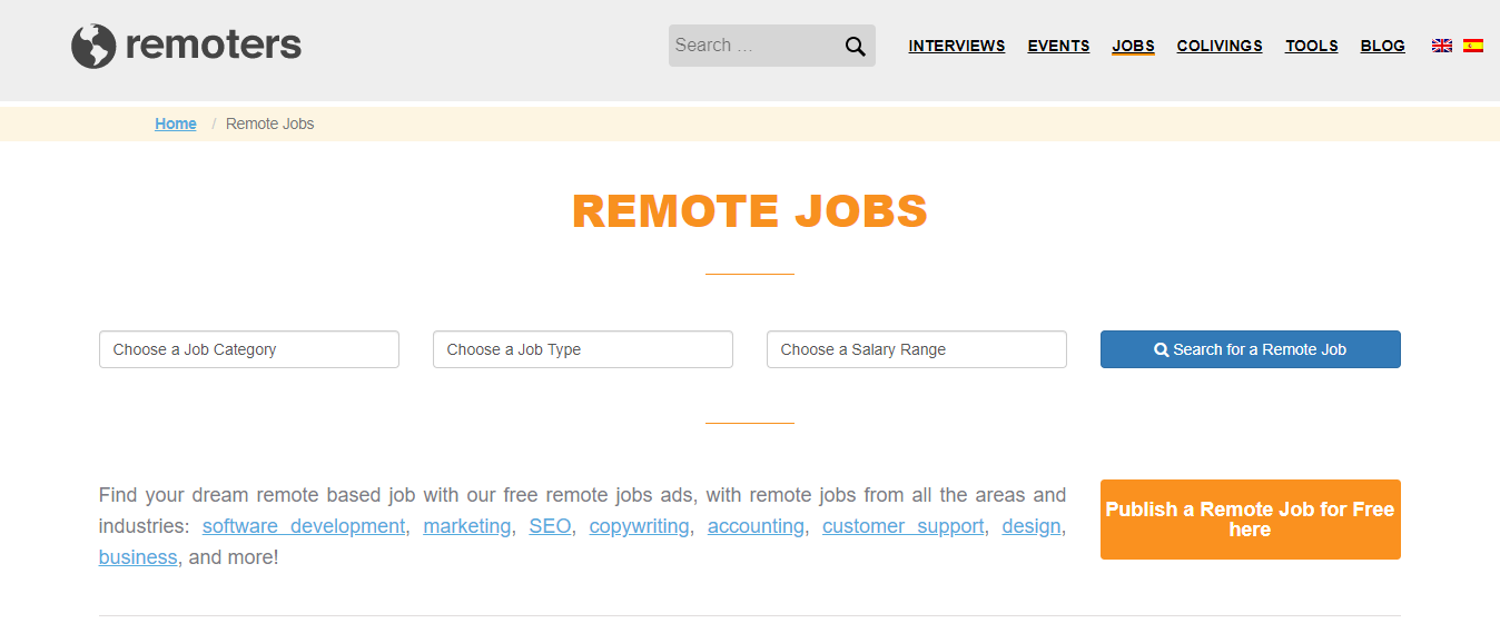 Remoters - Remote Jobs Board. best job sites for remote work