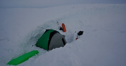 Photo: Our 48 hours in crevasse camp. Surviving the stormy weather.