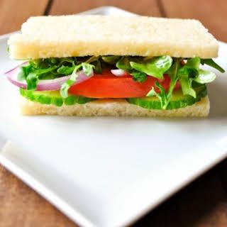 English Cucumber, Arugula, and Tomato Sandwich with Lemon Aioli.