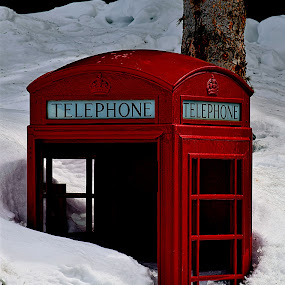 Phone's Ringing*... by Rob Bradshaw - Artistic Objects Technology Objects ( red, artistic objects, technology objects, alexander lake resort, restaurant, old phone booth, grand mesa, phone's ringing..., colorado, phone booth )
