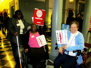 Photo: Sharon and Barti from Independent Resources, Inc. with DDC Chair Barb Monaghan. Independent Resources is organizing an event on April 9, 2015 to raise awareness and share concerns about Paratransit in Delaware.