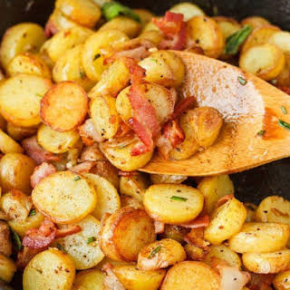 Pan-Fried Fingerling Potatoes with Bacon.