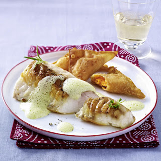 Roasted Fish with Sweet Potato Wontons and Pea Purée