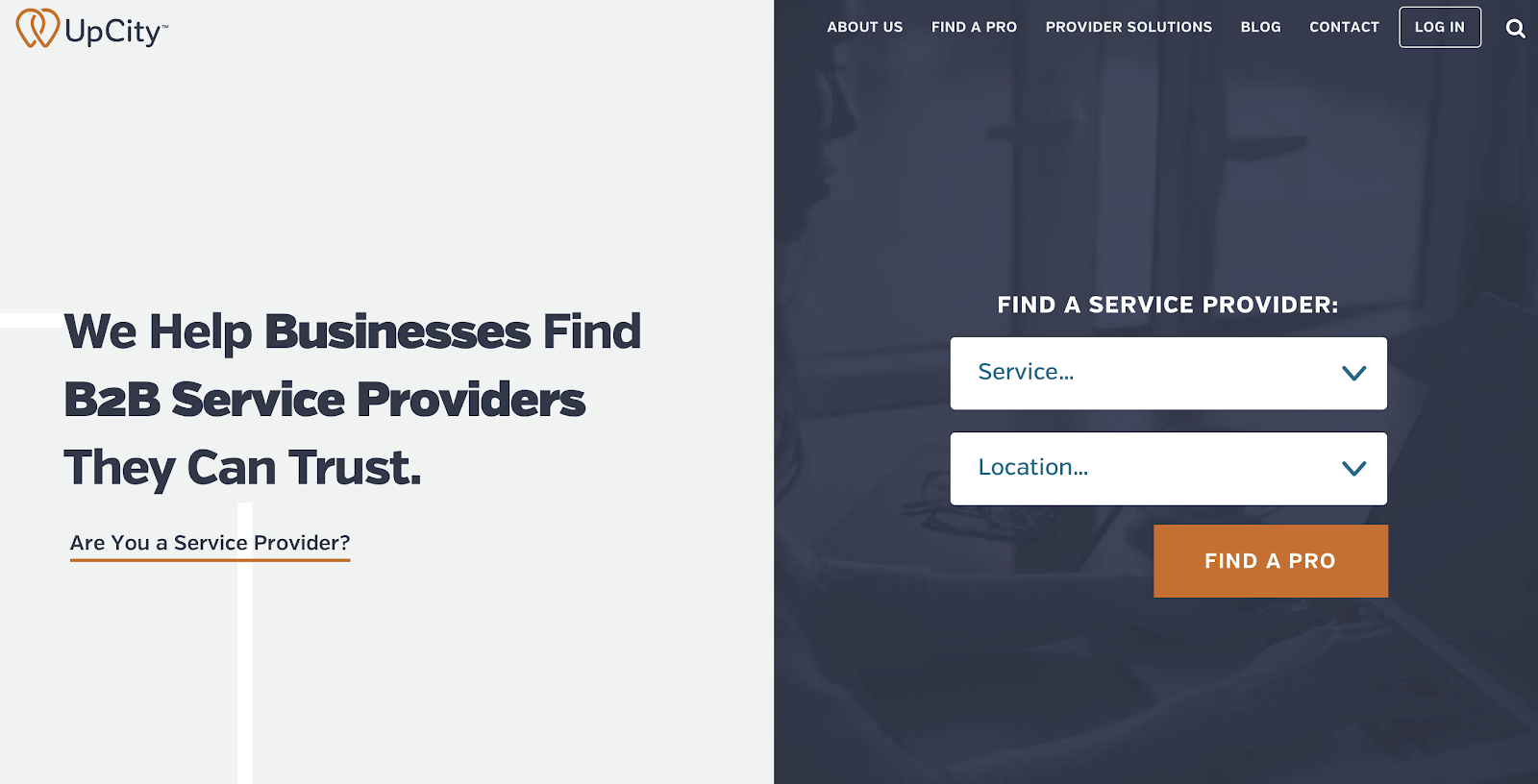 The UpCity homepage lets business owners browse hundreds of companies for high-quality services, like website design, in their state.