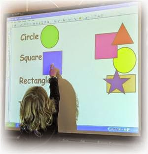 Girl using a smartboard