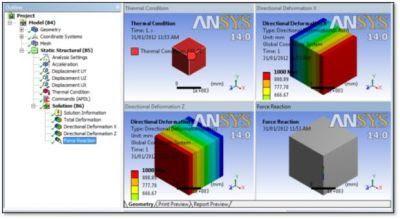 ANSYS - Температурная нагрузка и результаты расчета