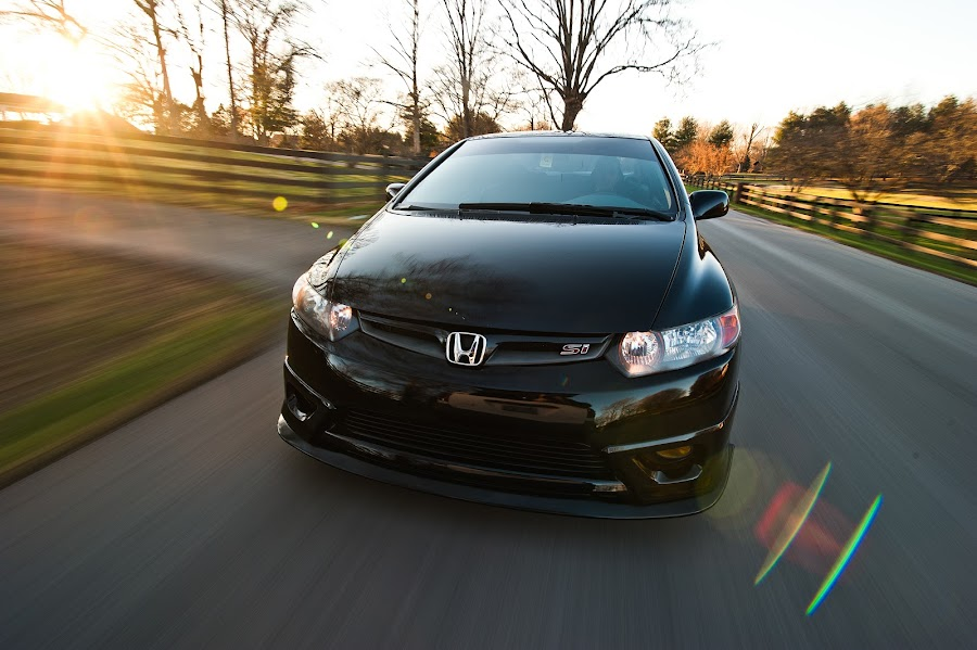 2006 Honda Civic Si by Michael  Kitchen - Transportation Automobiles ( civic, quick, wide, angle, sun, si, country, honda, rolling, rollingshot, sunset, motion, fast, black, skyfall )