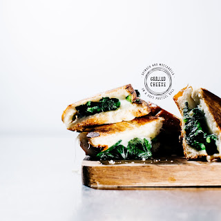Spinach Mozzarella Grilled Cheese on Pretzel Bread