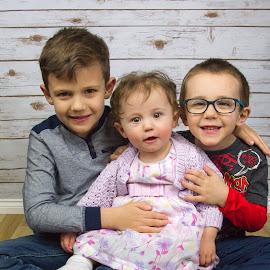 Three Kids by Lee Aron - Babies & Children Child Portraits ( family portrait, children, portraits, family photo, family, group photo, kids,  )