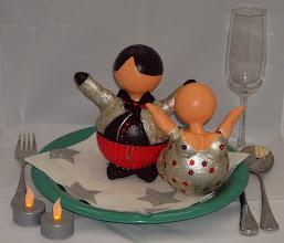 Photo: Kerst Bengeltje + Butler Zilver/Rood - Bord decoratie
