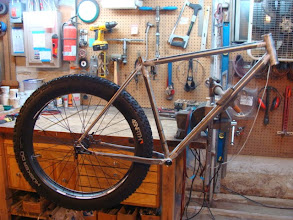 Photo: Had to pop the wheel in once the frame was tacked, looking like a fatbike!